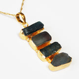 24ct Gold Plated Semi Precious Stone Rough Cut Blue Kyanite and Green Fluorite Pendant - Cherish Me Jewellery - Melbourne Australia