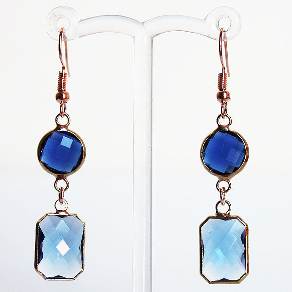 Earrings - Gold Toned Blue Crystal Two-Tier Chandelier - Cherish Me Jewellery - Melbourne Australia