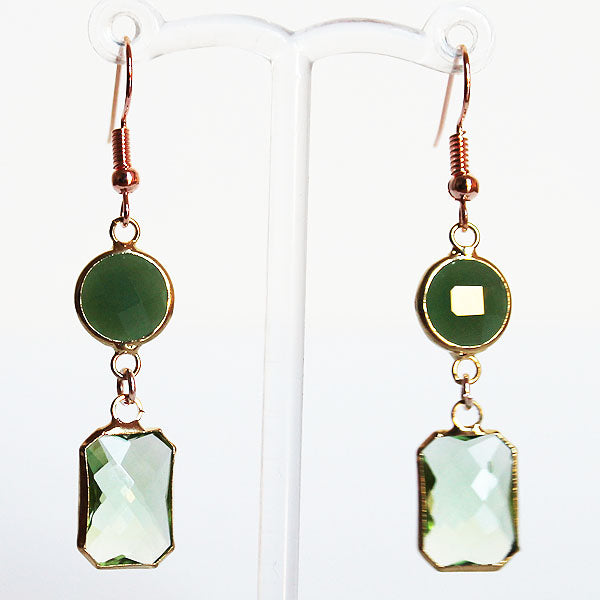 Earrings - Gold Toned Green Crystal Two-Tier Chandelier - Cherish Me Jewellery - Melbourne Australia