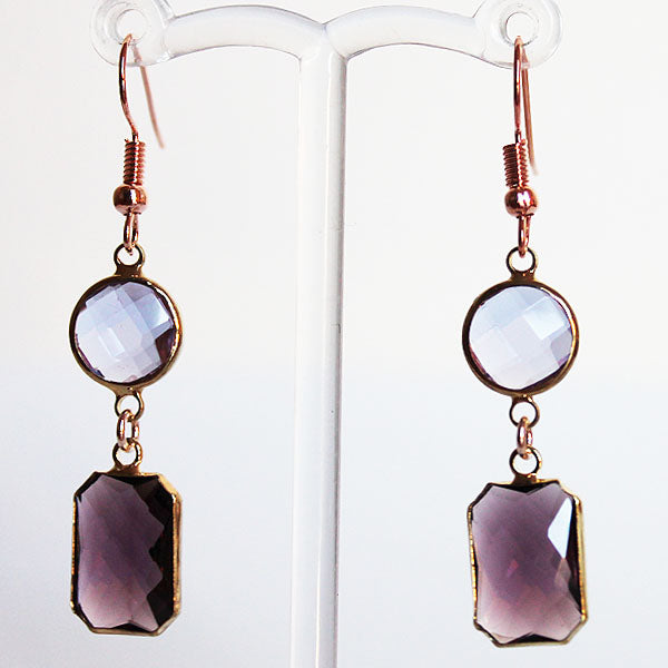 Earrings - Gold Toned Purple Crystal Two-Tier Chandelier - Cherish Me Jewellery - Melbourne Australia