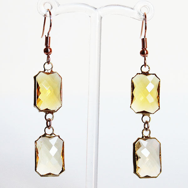 Earrings - Gold Toned Yellow Crystal Two-Tier Chandelier - Cherish Me Jewellery - Melbourne Australia