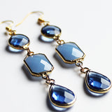 Earrings - Gold Toned Blue Crystal Three-Tier Chandelier - Cherish Me Jewellery - Melbourne Australia