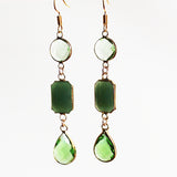Earrings - Gold Toned Green Crystal Three-Tier Chandelier - Cherish Me Jewellery - Melbourne Australia