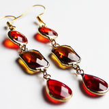 Earrings - Gold Toned Red & Brown Crystal Three-Tier Chandelier - Cherish Me Jewellery - Melbourne Australia