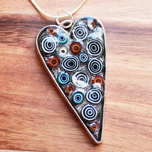 Millefiori Glass Heart Shaped Black & White Pendant - Cherish Me Jewellery - Melbourne Australia