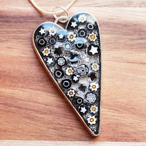 Millefiori Glass Heart Shaped Black, White & Yellow Pendant - Cherish Me Jewellery - Melbourne Australia