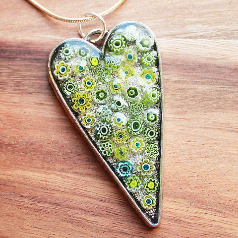 Millefiori Glass Heart Shaped Green, Yellow & White Pendant - Cherish Me Jewellery - Melbourne Australia