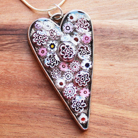Millefiori Glass Heart Shaped Pink & White Pendant - Cherish Me Jewellery - Melbourne Australia