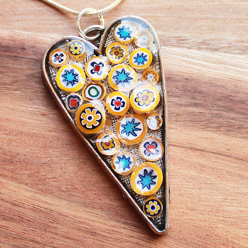 Millefiori Glass Heart Shaped Yellow, Blue, Red & White Pendant - Cherish Me Jewellery - Melbourne Australia