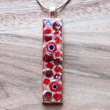Millefiori Glass Thin Rectange Shaped Red and Blue Pendant