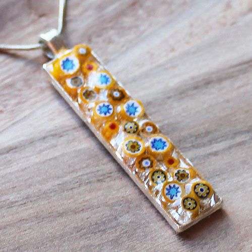 Millefiori Glass Thin Rectange Shaped Yellow, Blue, White and Red Pendant