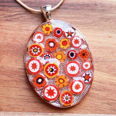Millefiori Glass Oval Shaped Red, Orange & White Pendant - Cherish Me Jewellery - Melbourne Australia