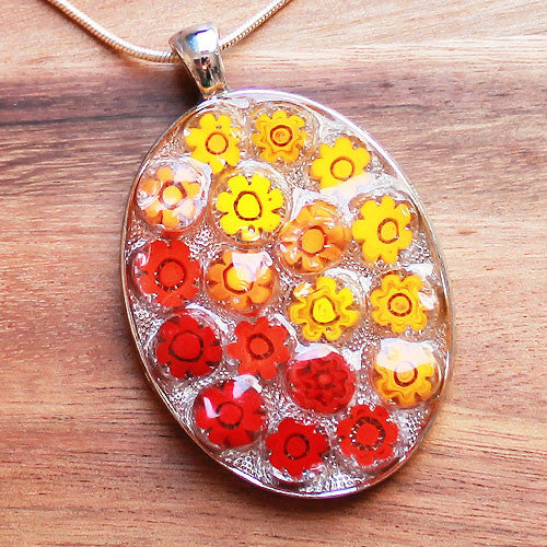 Millefiori Glass Oval Shaped Red & Orange Pendant - Cherish Me Jewellery - Melbourne Australia