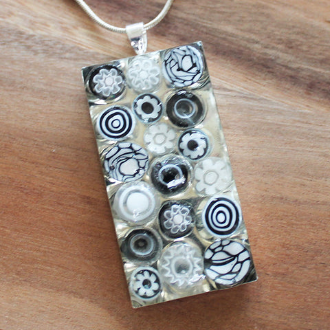 Millefiori Glass Rectangle Shaped Black & White Pendant