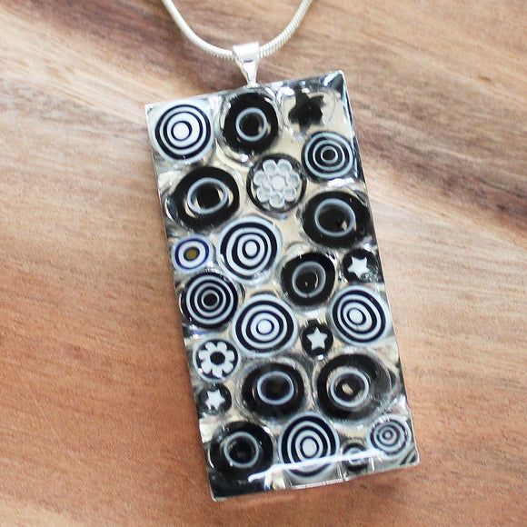 Millefiori Glass Rectangle Shaped Black & White Pendant - Cherish Me Jewellery - Melbourne Australia