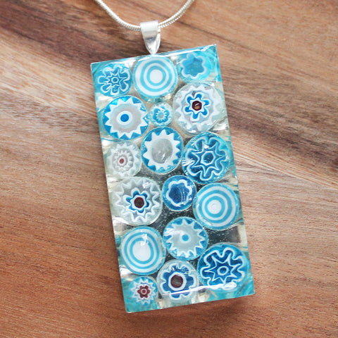 Millefiori Glass Rectangle Shaped Light Blue & White Pendant