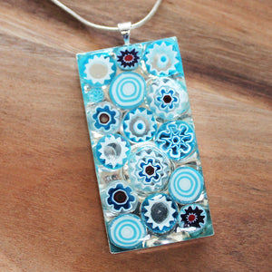 Millefiori Glass Rectangle Shaped Light Blue & White Pendant - Cherish Me Jewellery - Melbourne Australia