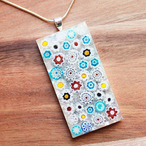 Millefiori Glass Rectangle Shaped White, Blue, Pink & Yellow Pendant - Cherish Me Jewellery - Melbourne Australia