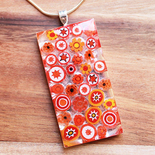 Millefiori Glass Rectangle Shaped Orange, Red & White Pendant - Cherish Me Jewellery - Melbourne Australia