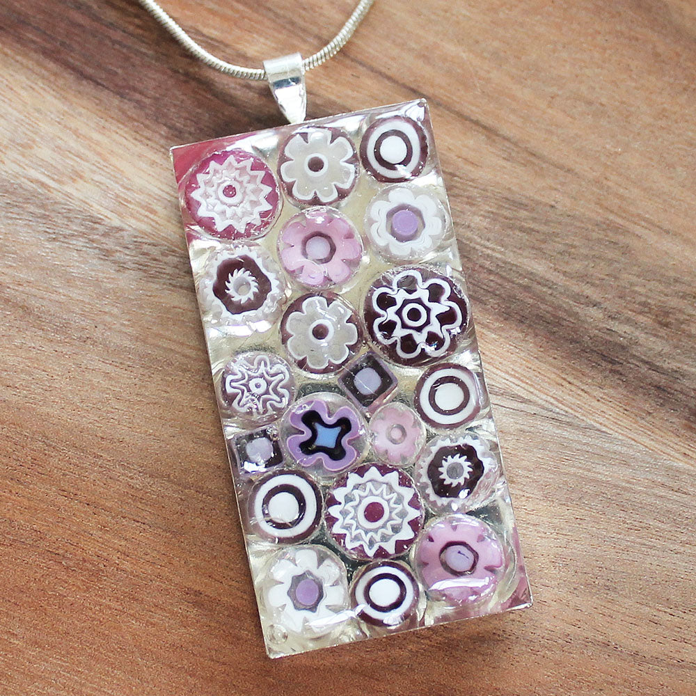 Millefiori Glass Rectangle Shaped Pink & White Pendant - Cherish Me Jewellery - Melbourne Australia