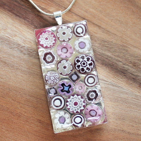 Millefiori Glass Rectangle Shaped Pink & White Pendant