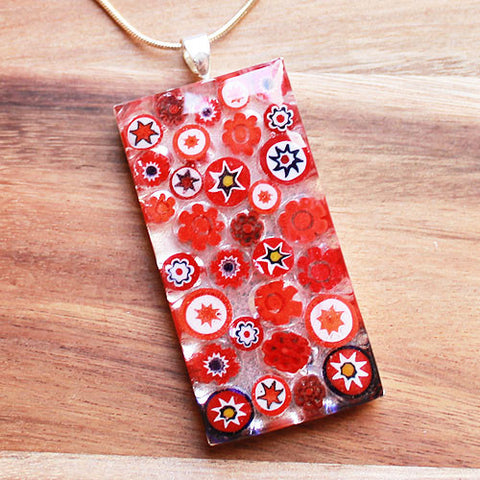 Millefiori Glass Rectangle Shaped Red, White & Blue Pendant - Cherish Me Jewellery - Melbourne Australia