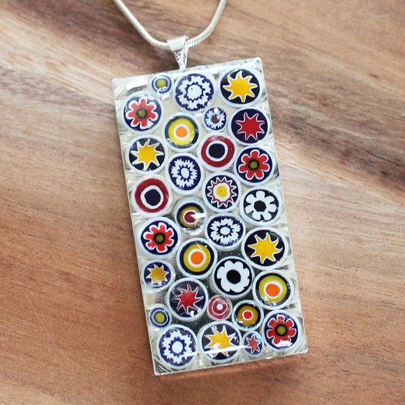 Millefiori Glass Rectangle Shaped White, Red & Yellow Pendant - Cherish Me Jewellery - Melbourne Australia