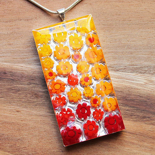 Millefiori Glass Rectangle Shaped Yellow, Orange & Red Pendant - Cherish Me Jewellery - Melbourne Australia