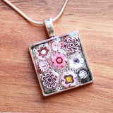 Millefiori Glass Square Shaped Pink & White Pendant - Cherish Me Jewellery - Melbourne Australia