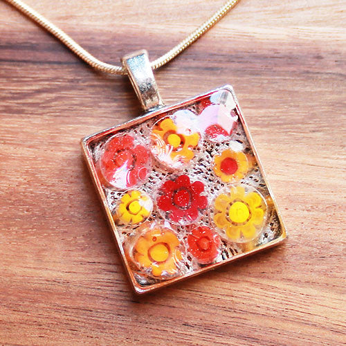 Millefiori Glass Square Shaped Red & Orange Pendant - Cherish Me Jewellery - Melbourne Australia