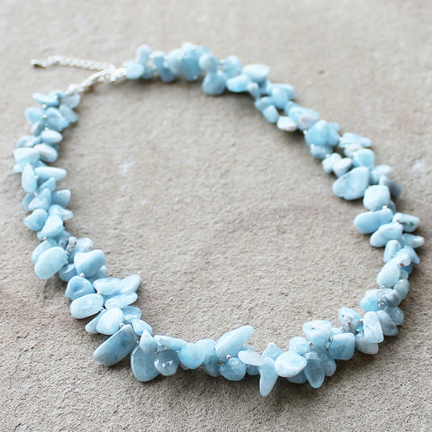 54cm Blue Aquamarine Semi-Precious Stone Mid-Length Double Strand Necklace - Cherish Me Jewellery - Melbourne Australia