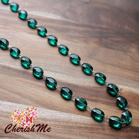 88cm Green Crystal Long Necklace - Cherish Me Jewellery - Melbourne Australia