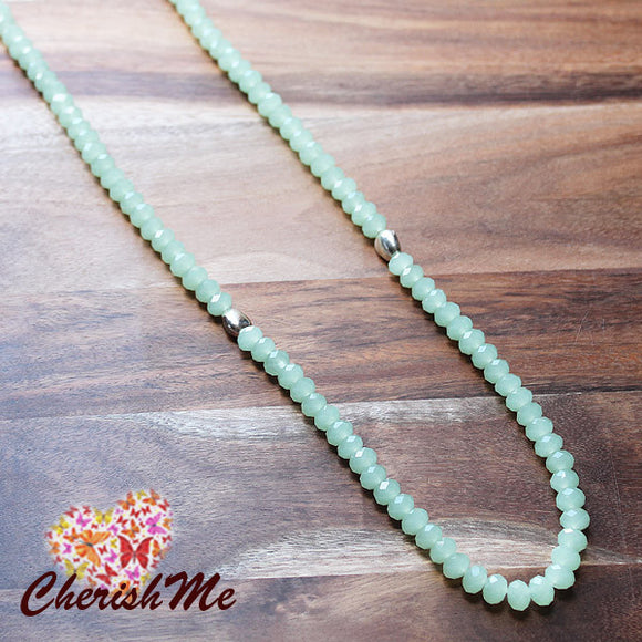 88cm Pale Green Casual Summer Crystal Long Necklace - Cherish Me Jewellery - Melbourne Australia