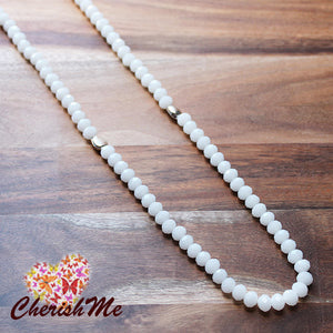 88cm White Casual Summer Crystal Long Necklace - Cherish Me Jewellery - Melbourne Australia