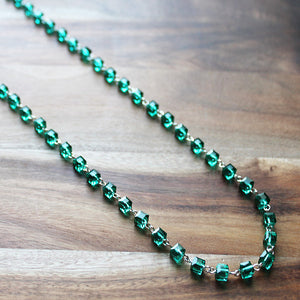 92cm Delicate Long Silver and Green Crystal Necklace - Cherish Me Jewellery - Melbourne Australia
