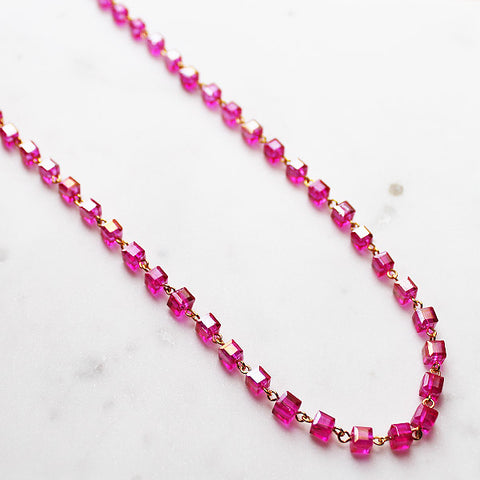 92cm Delicate Long Gold and Hot Pink Crystal Necklace - Cherish Me Jewellery - Melbourne Australia