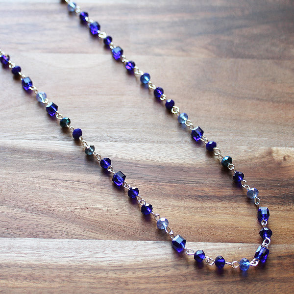 92cm Delicate Long Silver and Blue Crystal Necklace - Cherish Me Jewellery - Melbourne Australia