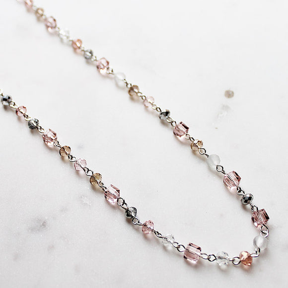 92cm Delicate Long Silver and Pale Pink Crystal Necklace - Cherish Me Jewellery - Melbourne Australia