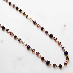 92cm Delicate Long Gold and Purple Crystal Necklace - Cherish Me Jewellery - Melbourne Australia
