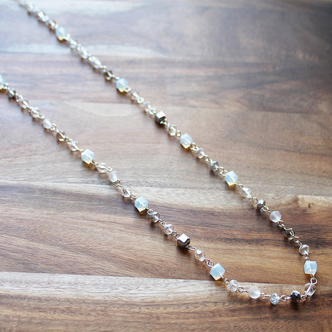 92cm Delicate Long Silver and White Crystal Necklace - Cherish Me Jewellery - Melbourne Australia