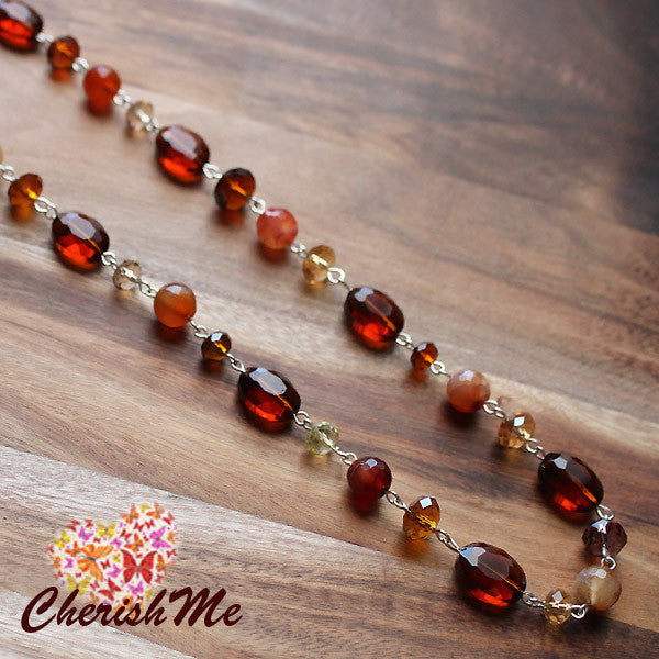 88cm Brown Crystal Long Necklace - Cherish Me Jewellery - Melbourne Australia
