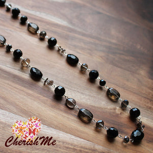 88cm Black Crystal & Smokey Quartz Long Necklace - Cherish Me Jewellery - Melbourne Australia
