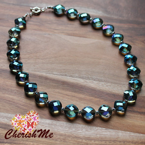 47cm Diamand Shaped Blue Crystal Design Short Necklace - Cherish Me Jewellery - Melbourne Australia