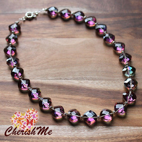 47cm Diamand Shaped Pink Crystal Design Short Necklace - Cherish Me Jewellery - Melbourne Australia