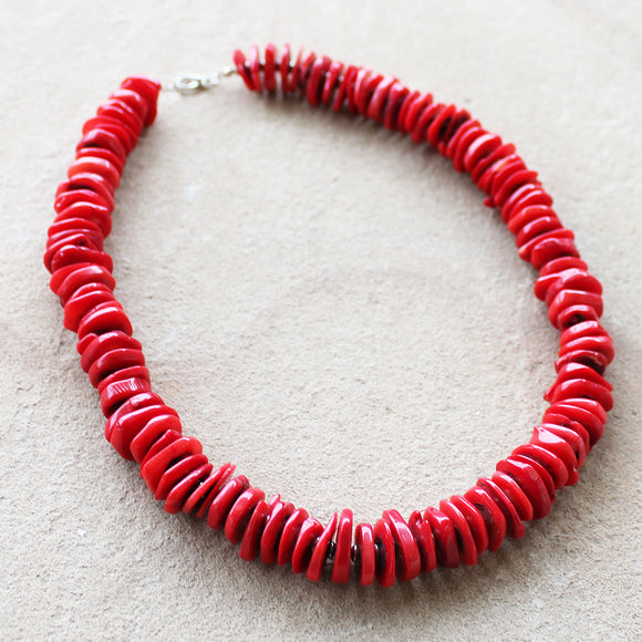 58cm Natural Red Coral Chunky Semi-Precious Stone Mid-Length Necklace - Cherish Me Jewellery - Melbourne Australia