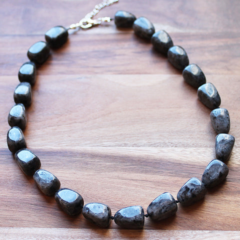 45cm Oval Shaped Black Labradorite Semi Precious Natural Stone Mid-Length Necklace - Cherish Me Jewellery - Melbourne Australia
