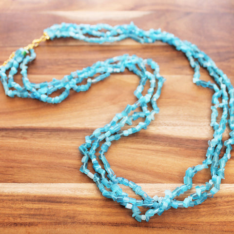 88cm three-strand Semi Precious Blue Aquamarine Chip Long Necklace - Cherish Me Jewellery - Melbourne Australia