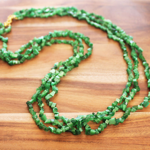 88cm three-strand Semi Precious Green Agate Chip Long Necklace - Cherish Me Jewellery - Melbourne Australia