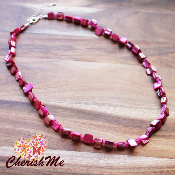 54cm Pink Shell Semi Precious Natural Stone Mid Length Necklace
