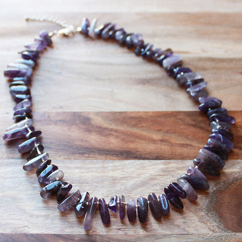 48cm Purple Amethyst Stick Point Semi Precious Natural Stone Short Necklace - Cherish Me Jewellery - Melbourne Australia